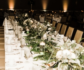 Head table wedding evergreen and eucolyptus
