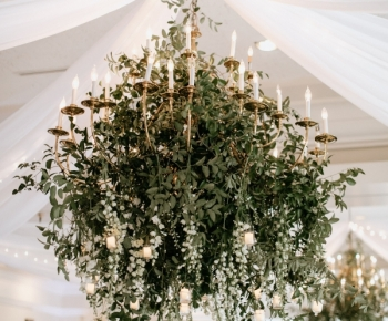 Greenery & Delphinium Floral Chandelier Wayzata Country Club