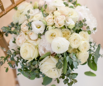 Closeup of Ivory  & White Bridal Bouquet by Bloomberry Floral