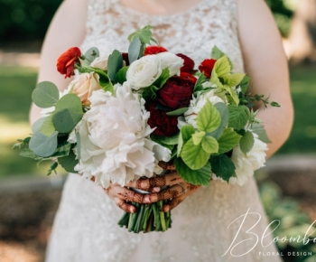 Peony, Ranunculus, Rose, Eucalyptus & Raspberry Leaf Bouquet.