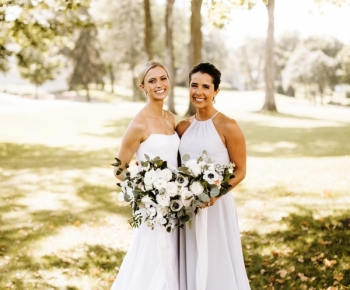 Bride and Bridesmaid Loose Bridal Bouquet Ivory Blue