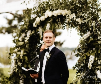 Outdoor Greenery and Floral Wedding Arch Golf Course