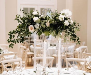 Floating Wedding Table Floral Centerpiece Greenery and White Flowers