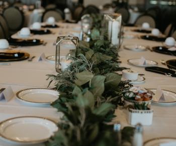 Greenery table garland at Minneapolis wedding