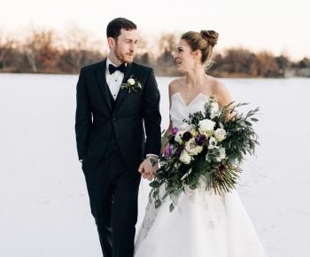 Bride and Groom on Lake in Minnesota Winter Wedding