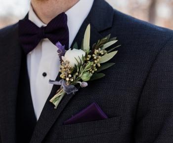 Purple and White Groomsmen Boutonniere