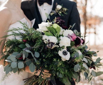 Large Moody Winter Bridal Bouquet Whites and Purple Flowers