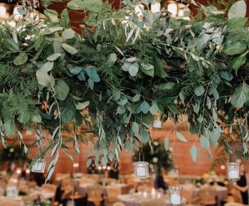Greenery and Eucalyptus headtable Centerpiece Winter Reception