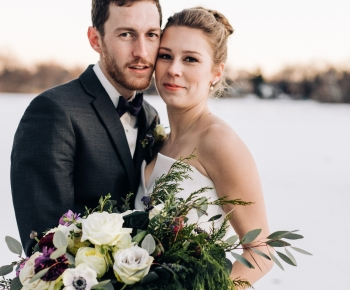 Bride and Groom Wedding Florals White and Purple Winter