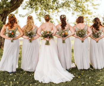 Bride and party with Organic Bouquets