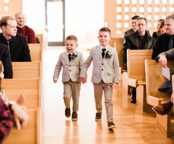 Ringbearers with brunia berry boutonniere