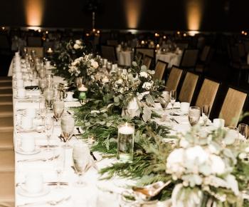 Head table wedding evergreen and eucolyptus