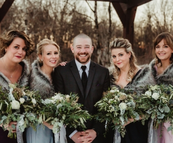 Groom and Bridesmaids Winter Wedding  in Minneapois