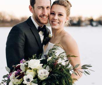Winter wedding on lake in Minneapolis