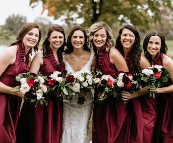Bride and Bridesmaids bridal Merlot flowers