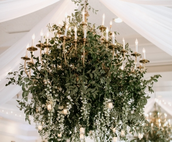 Greenery & Delphinium Floral Chandelier Wayzata Country Club