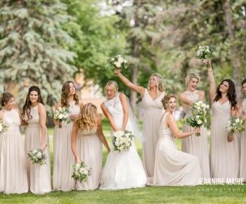 Bride & Brides in blush dresses at Lafayette Club