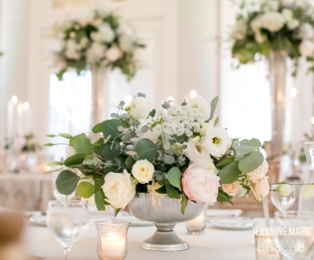 Table Centerpieces at Lafyette Country Club by Bloomberry Floral