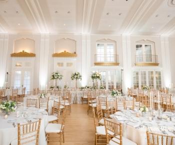 Ballroom at Lafayette set-up for Elegant Wedding Reception