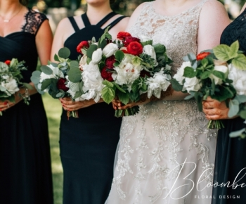 Closeup of bride and bridesmaids bouquets by Bloomberry Floral