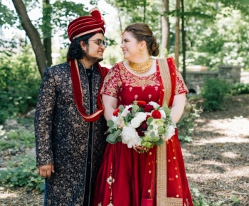 Bride and Groom wearing Traditional Indian Garments