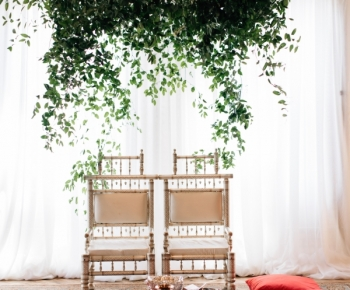 Indian Wedding Alter with Hanging Greenery Piece by Bloomberry Floral
