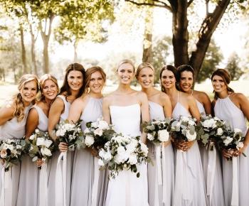 Bride and Bridesmaids Pale Blue Pallett Bridal bouquets