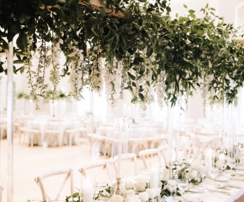 Hanging Greenery and Floral Head Table Chandelier