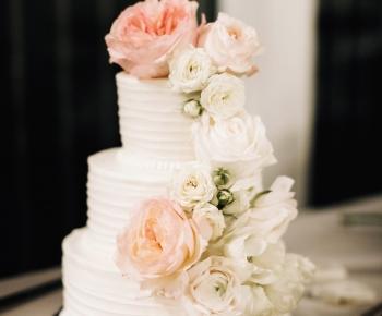 Decorated Wedding Cake with Ivory Blush Flowers