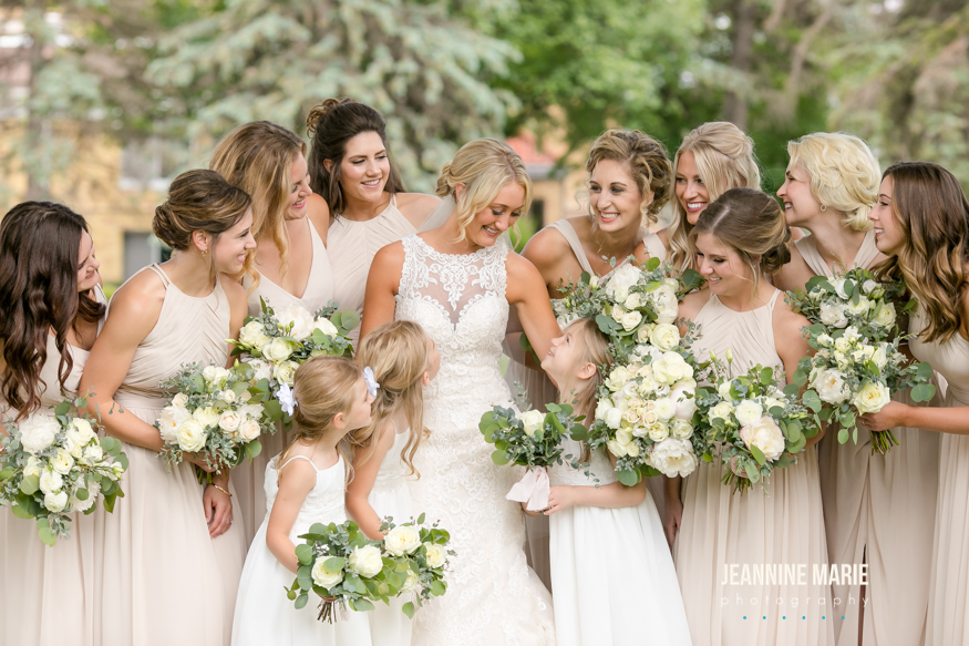 Bride & Bridesmaids Bouquets of Ivory, white & blush flowers